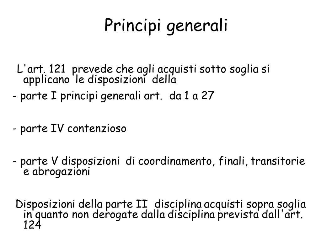 Principi generali L art. 121 prevede che agli acquisti sotto soglia si applicano le disposizioni della.