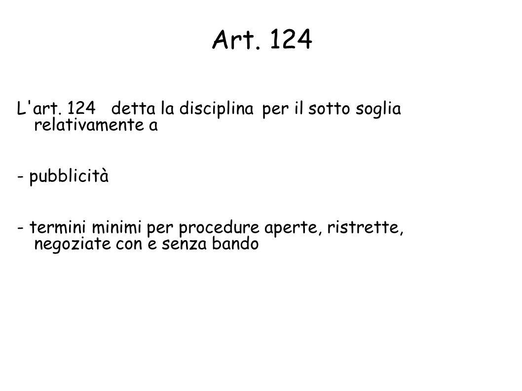 Art. 124 L art. 124 detta la disciplina per il sotto soglia relativamente a. - pubblicità.