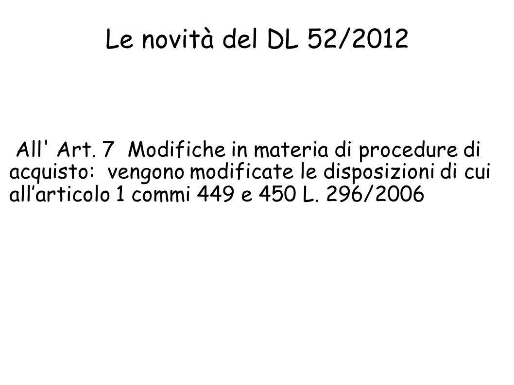 Le novità del DL 52/2012
