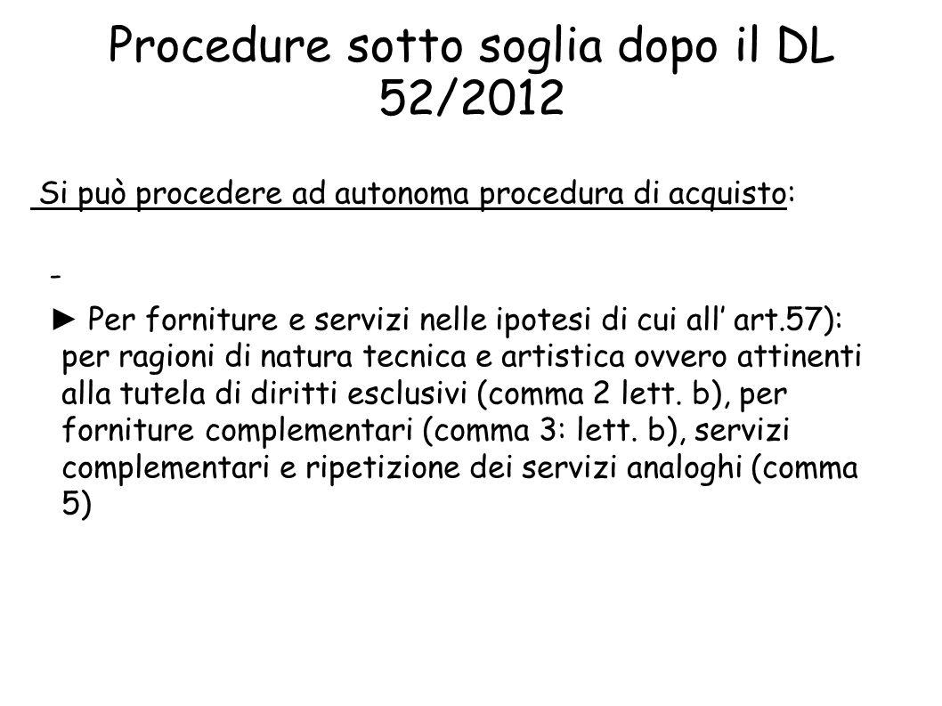 Procedure sotto soglia dopo il DL 52/2012