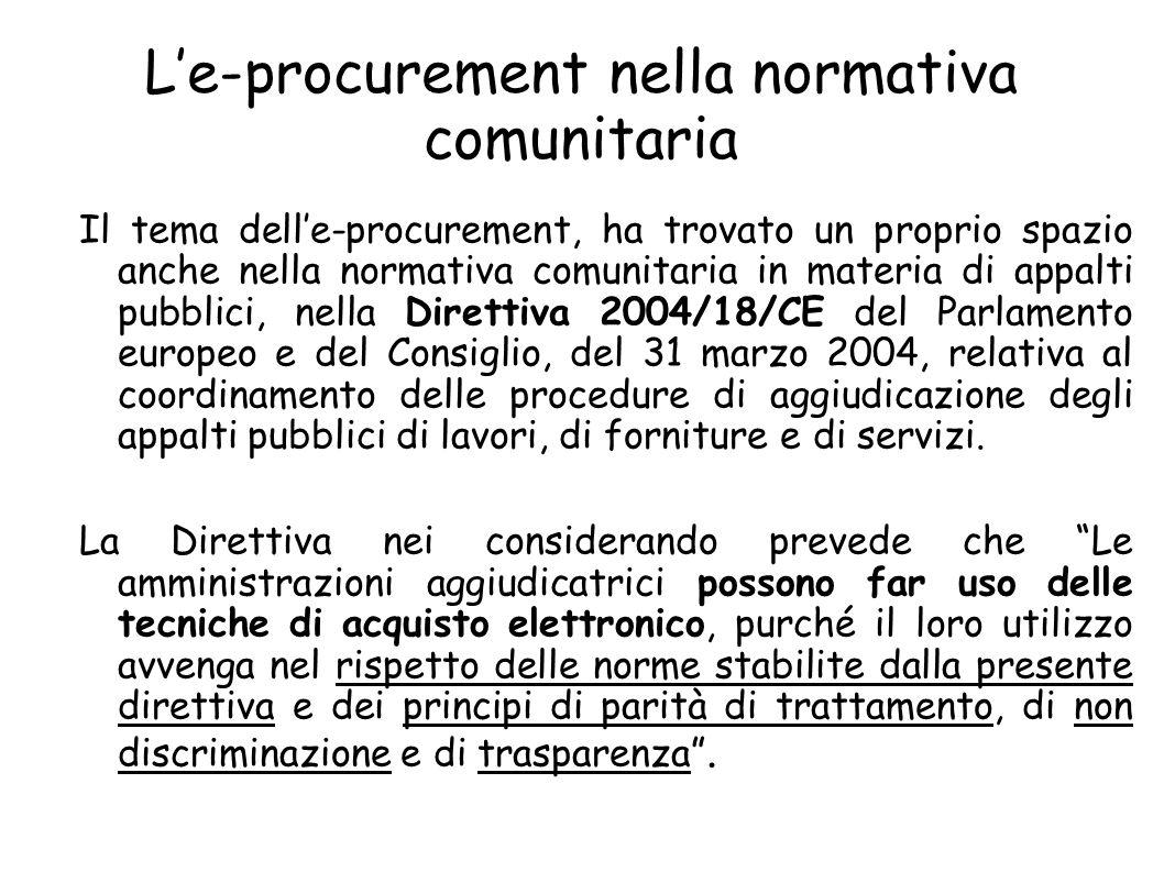 L'e-procurement nella normativa comunitaria