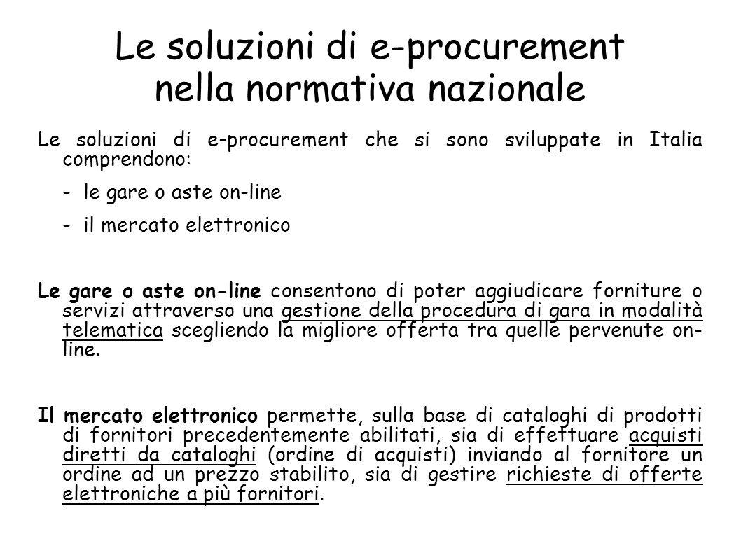 Le soluzioni di e-procurement nella normativa nazionale