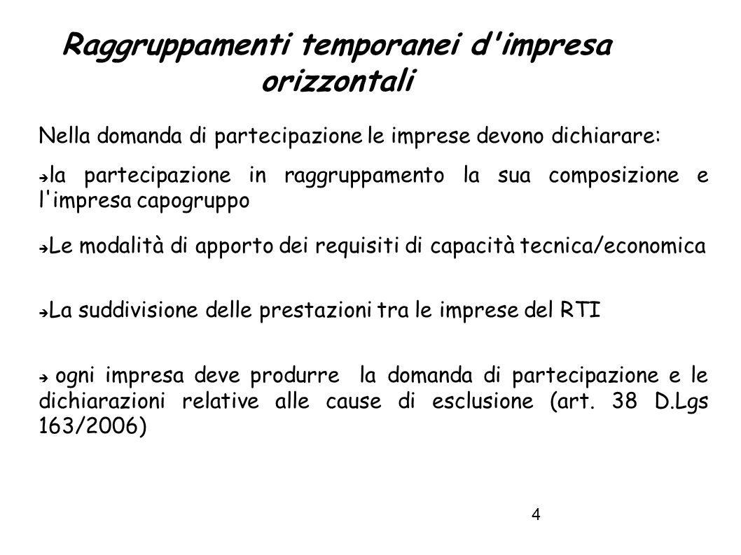 Raggruppamenti temporanei d impresa orizzontali