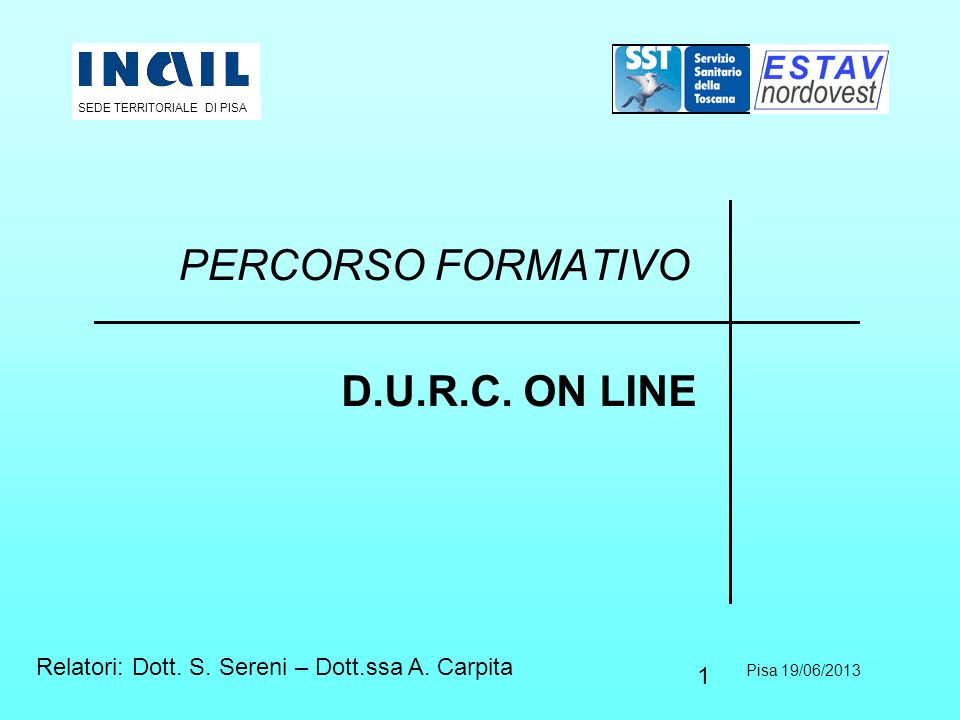 PERCORSO FORMATIVO D.U.R.C. ON LINE