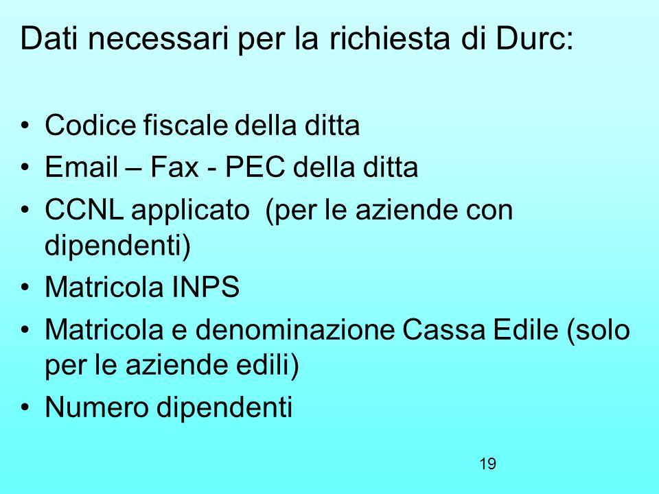 Dati necessari per la richiesta di Durc: