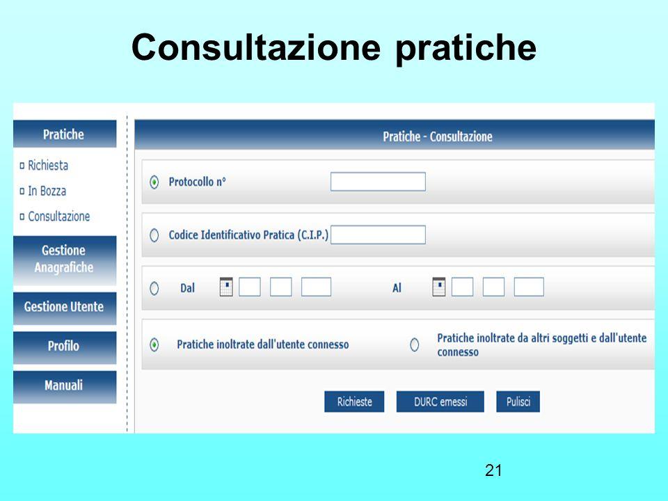Consultazione pratiche