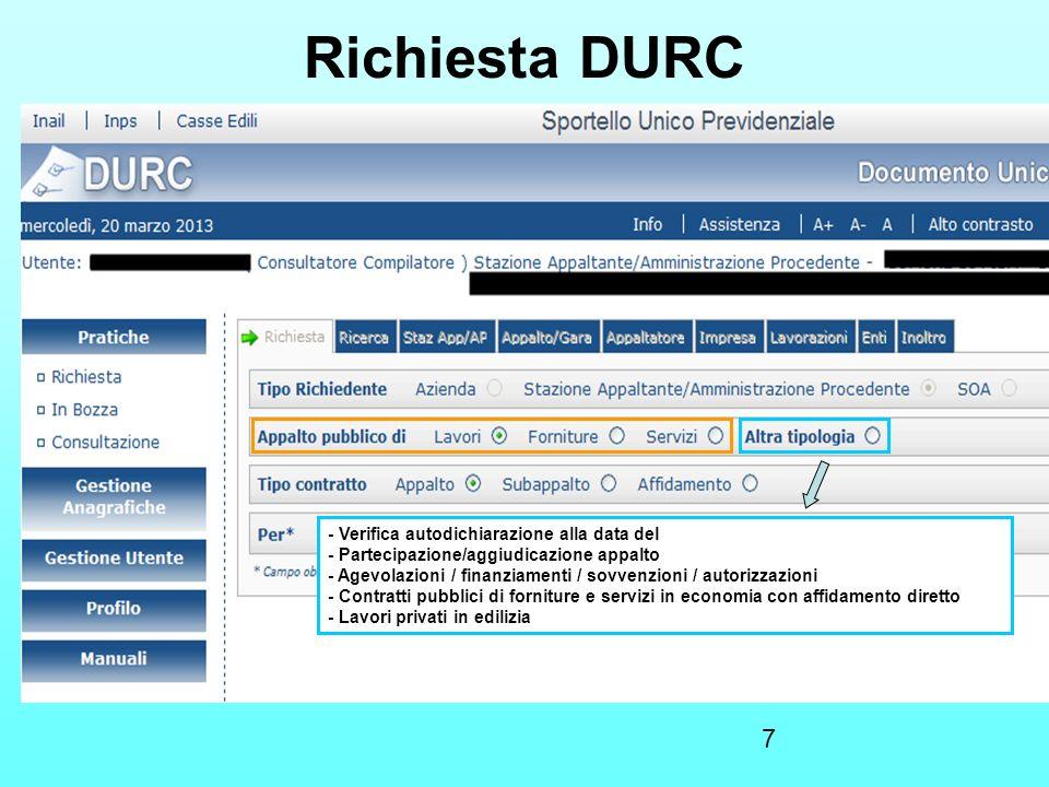 Richiesta DURC - Stipula contratto/convenzione/concessione