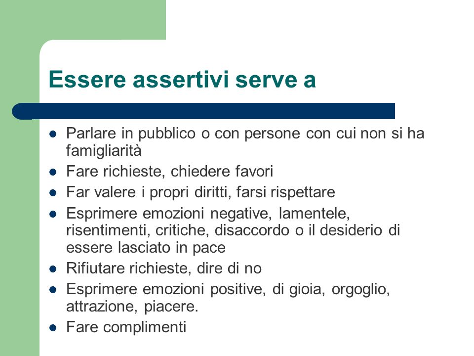 Essere assertivi serve a