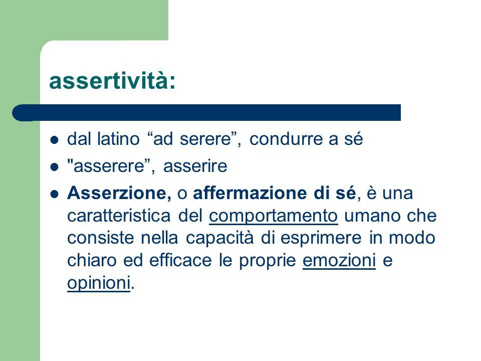 assertività: dal latino ad serere , condurre a sé