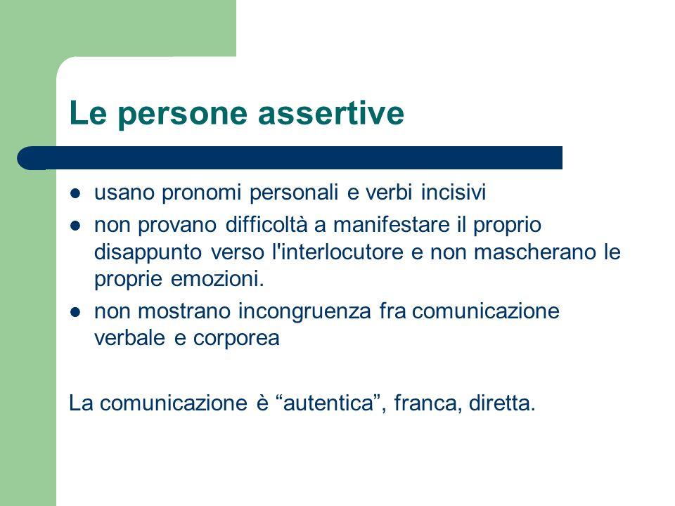 Le persone assertive usano pronomi personali e verbi incisivi