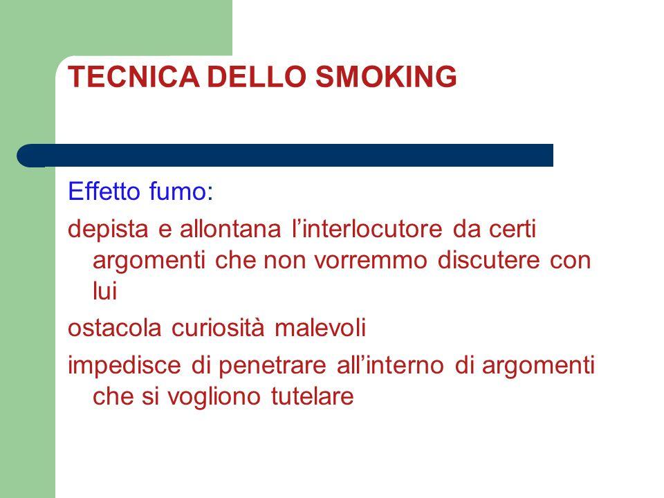 TECNICA DELLO SMOKING Effetto fumo: