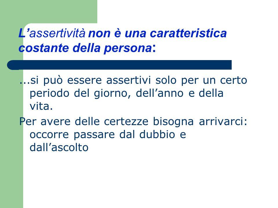 L'assertività non è una caratteristica costante della persona: