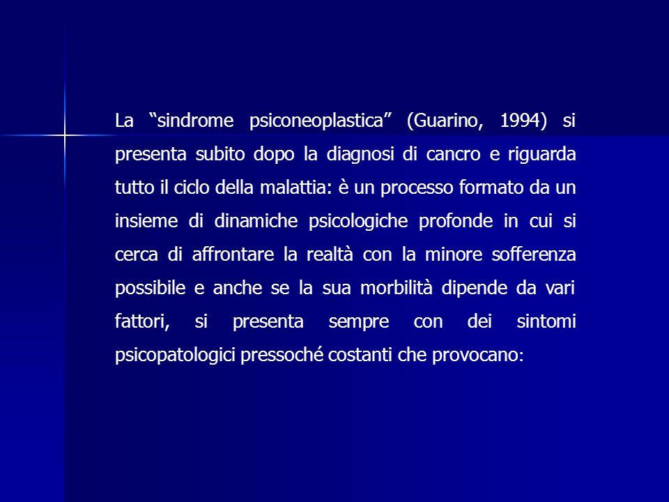La sindrome psiconeoplastica (Guarino, 1994) si presenta subito dopo la diagnosi di cancro e riguarda tutto il ciclo della malattia: è un processo formato da un insieme di dinamiche psicologiche profonde in cui si cerca di affrontare la realtà con la minore sofferenza possibile e anche se la sua morbilità dipende da vari fattori, si presenta sempre con dei sintomi psicopatologici pressoché costanti che provocano: