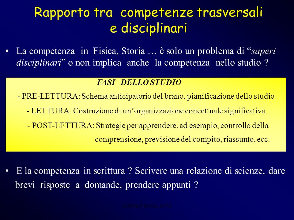 Rapporto tra competenze trasversali e disciplinari