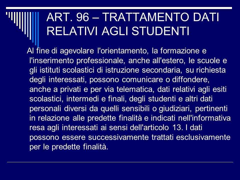 ART. 96 – TRATTAMENTO DATI RELATIVI AGLI STUDENTI
