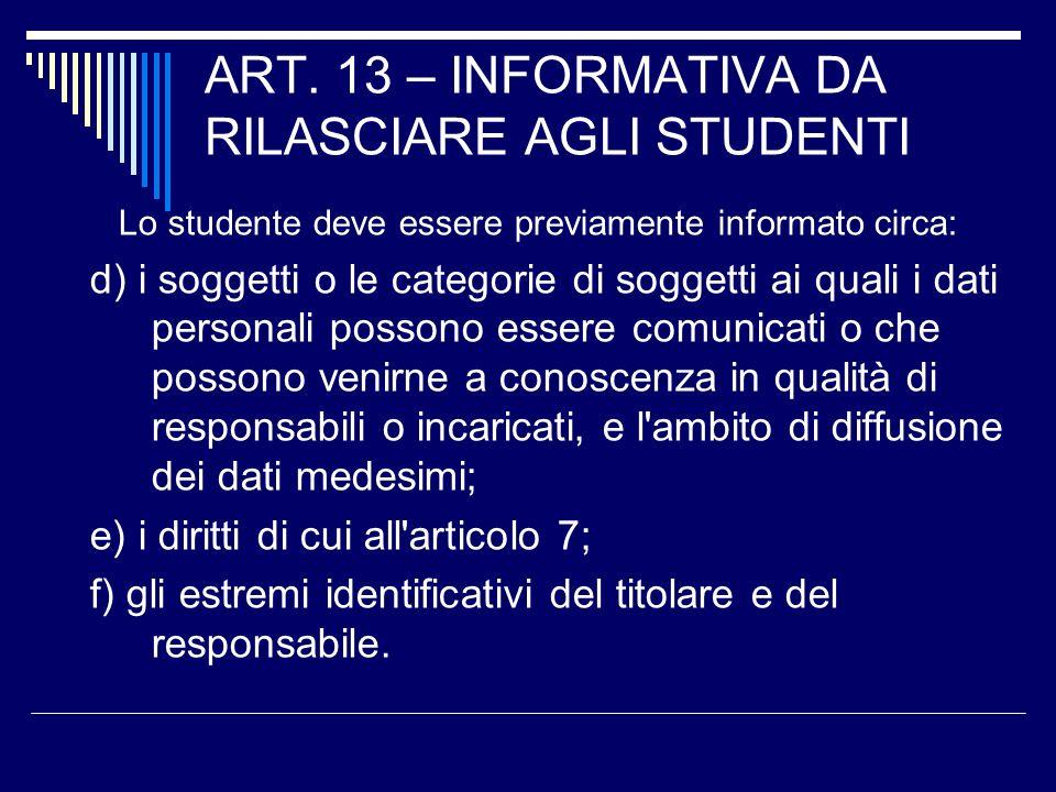 ART. 13 – INFORMATIVA DA RILASCIARE AGLI STUDENTI