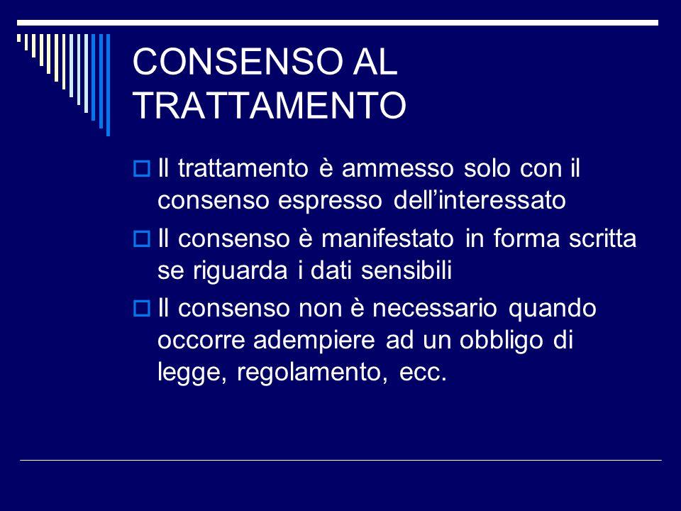 CONSENSO AL TRATTAMENTO