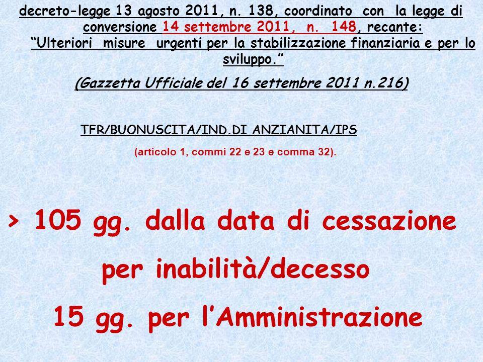 (Gazzetta Ufficiale del 16 settembre 2011 n.216)