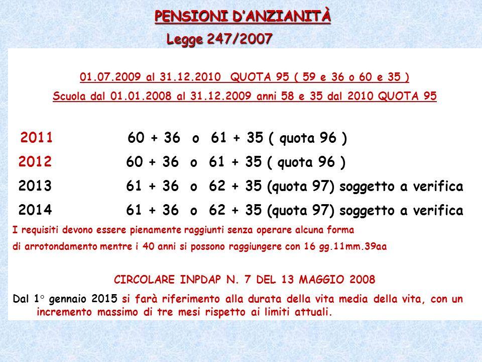PENSIONI D'ANZIANITÀ Legge 247/2007