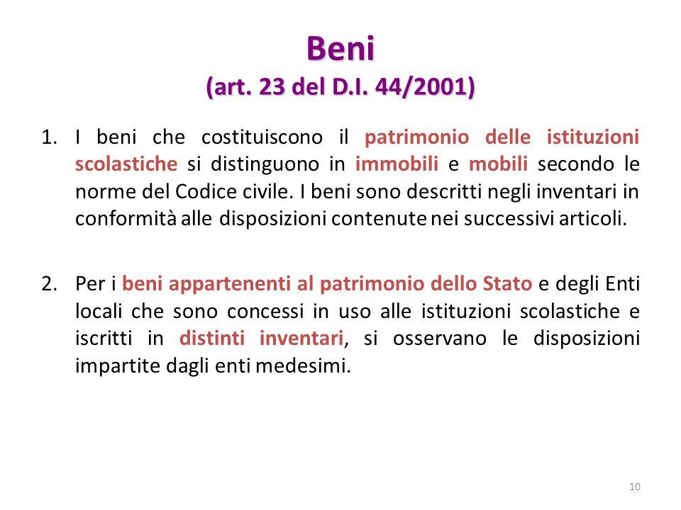 Beni (art. 23 del D.I. 44/2001)
