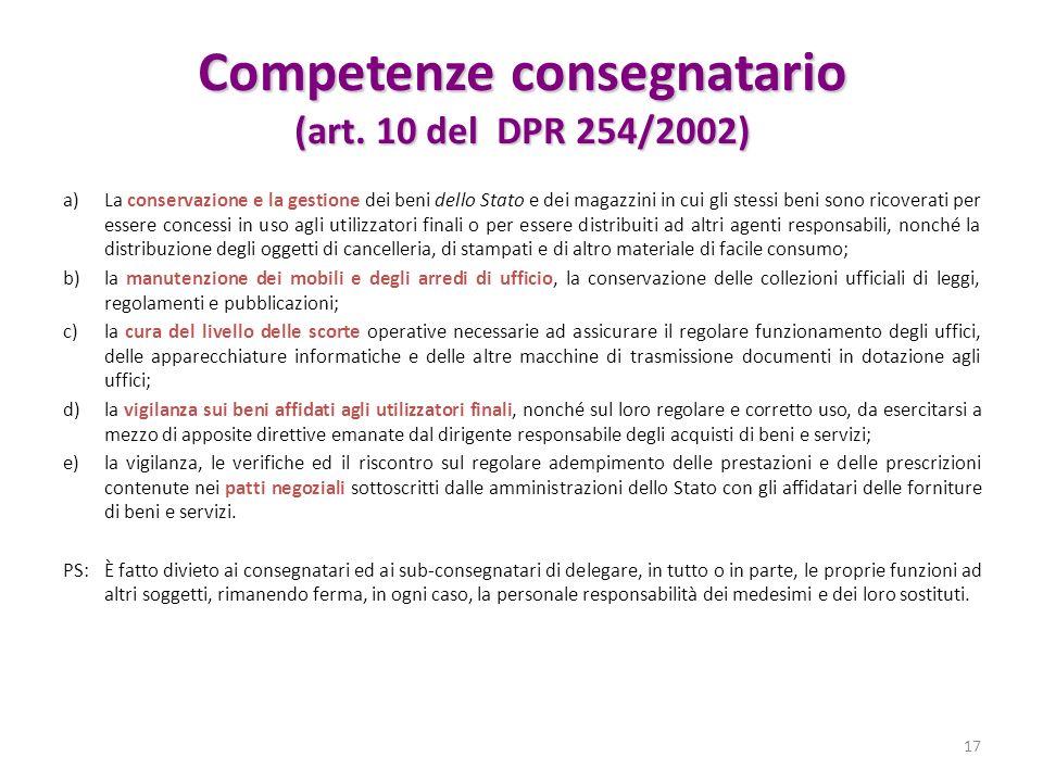 Competenze consegnatario (art. 10 del DPR 254/2002)