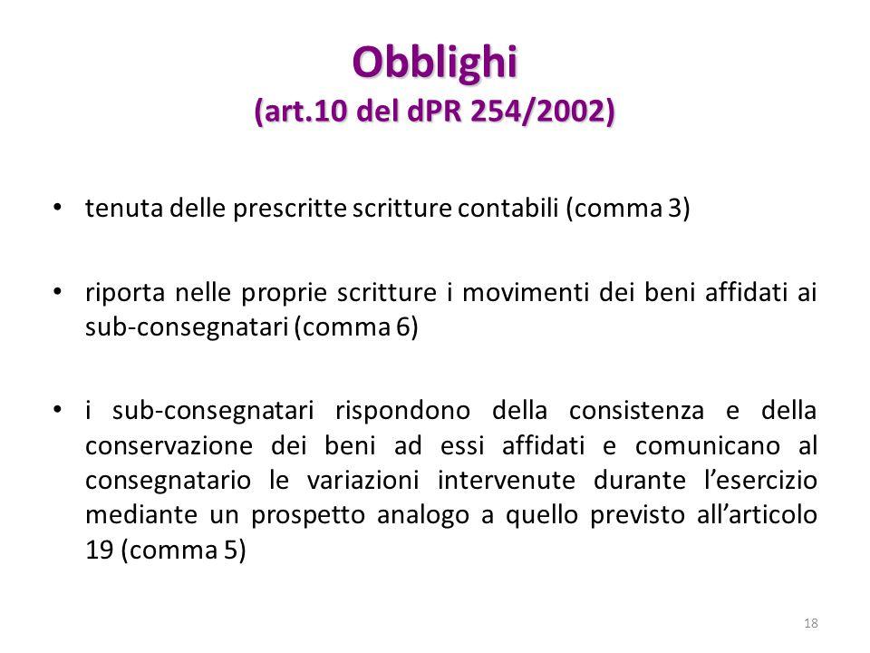 Obblighi (art.10 del dPR 254/2002)