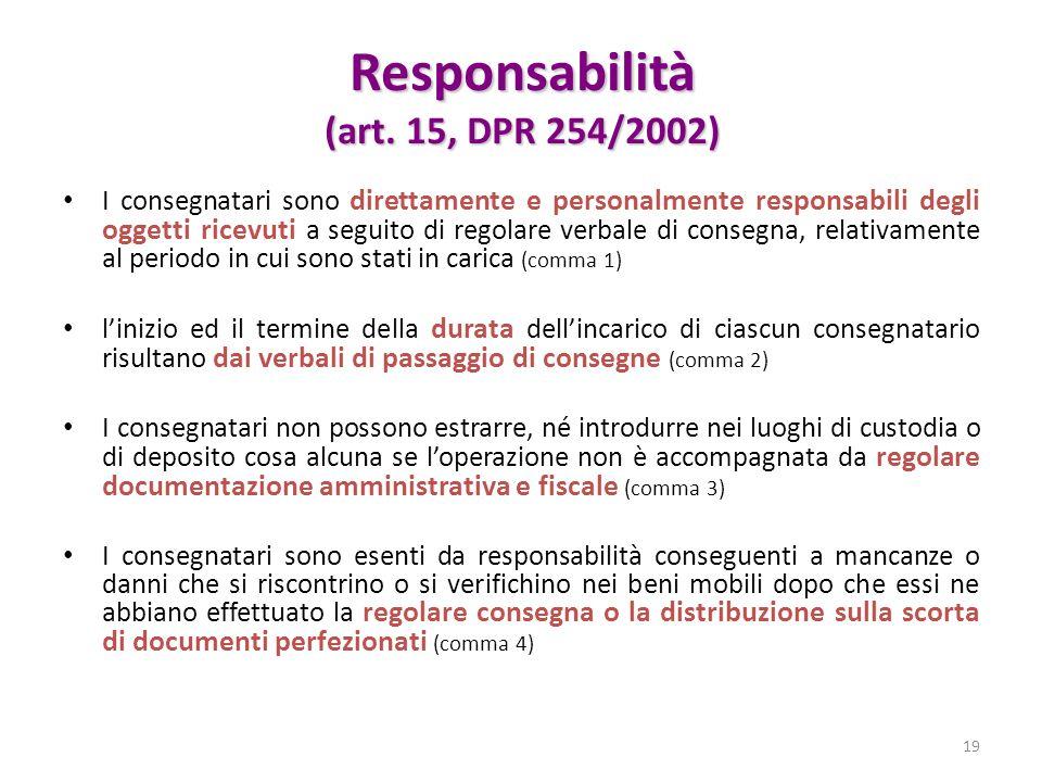 Responsabilità (art. 15, DPR 254/2002)