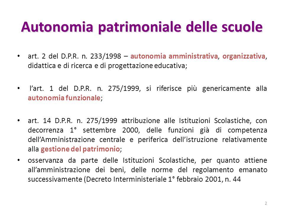 Autonomia patrimoniale delle scuole