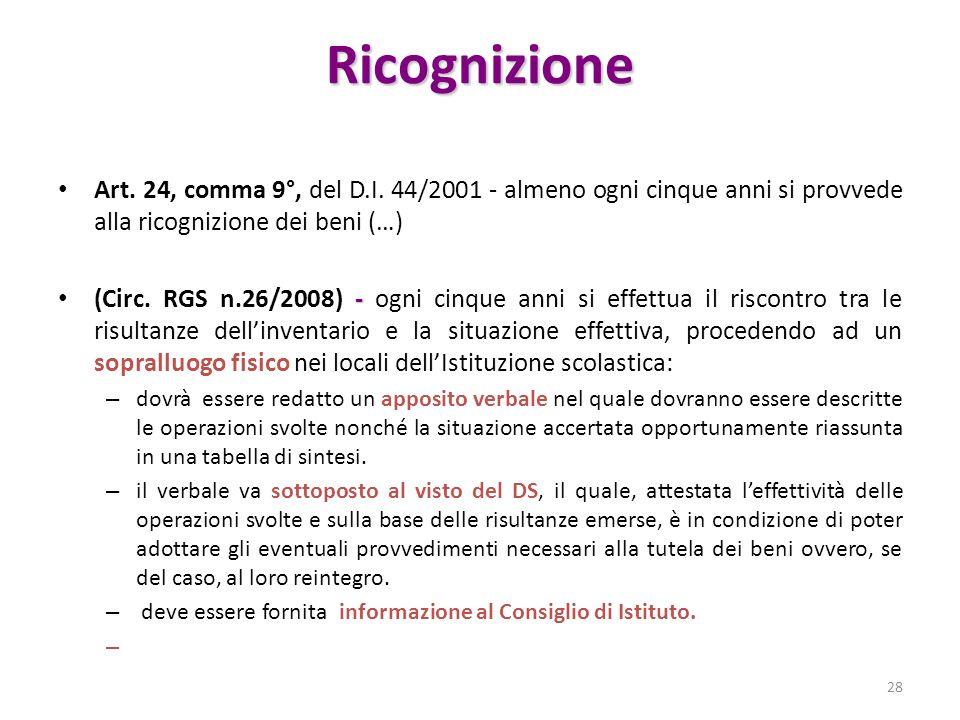 Ricognizione Art. 24, comma 9°, del D.I. 44/2001 - almeno ogni cinque anni si provvede alla ricognizione dei beni (…)