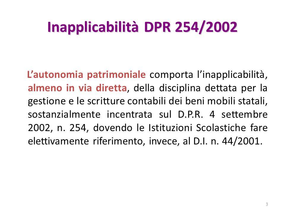 Inapplicabilità DPR 254/2002