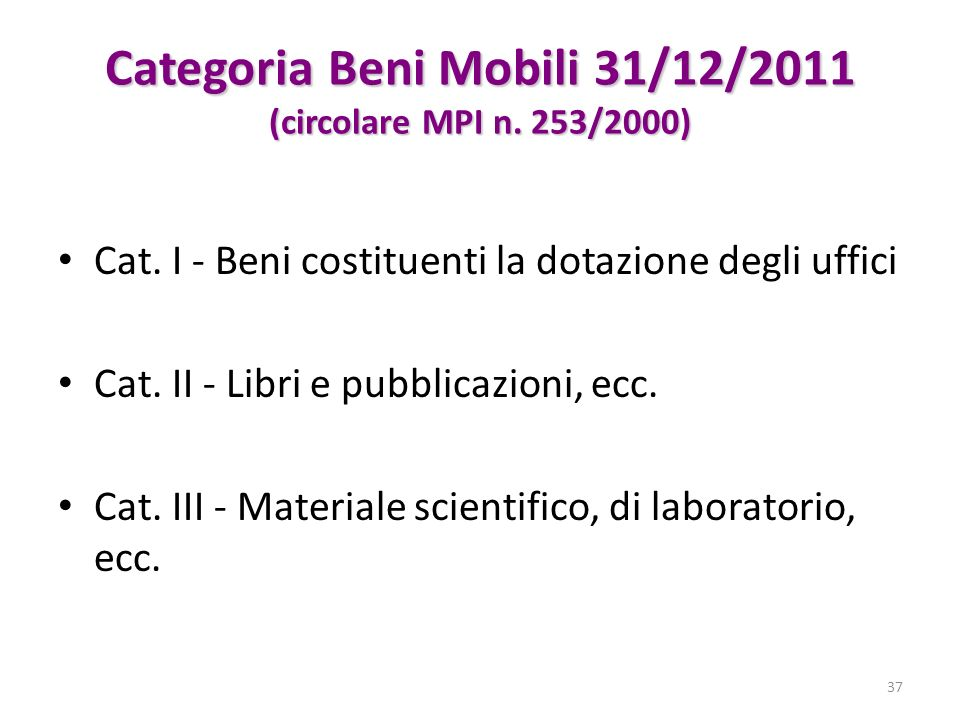 Categoria Beni Mobili 31/12/2011 (circolare MPI n. 253/2000)