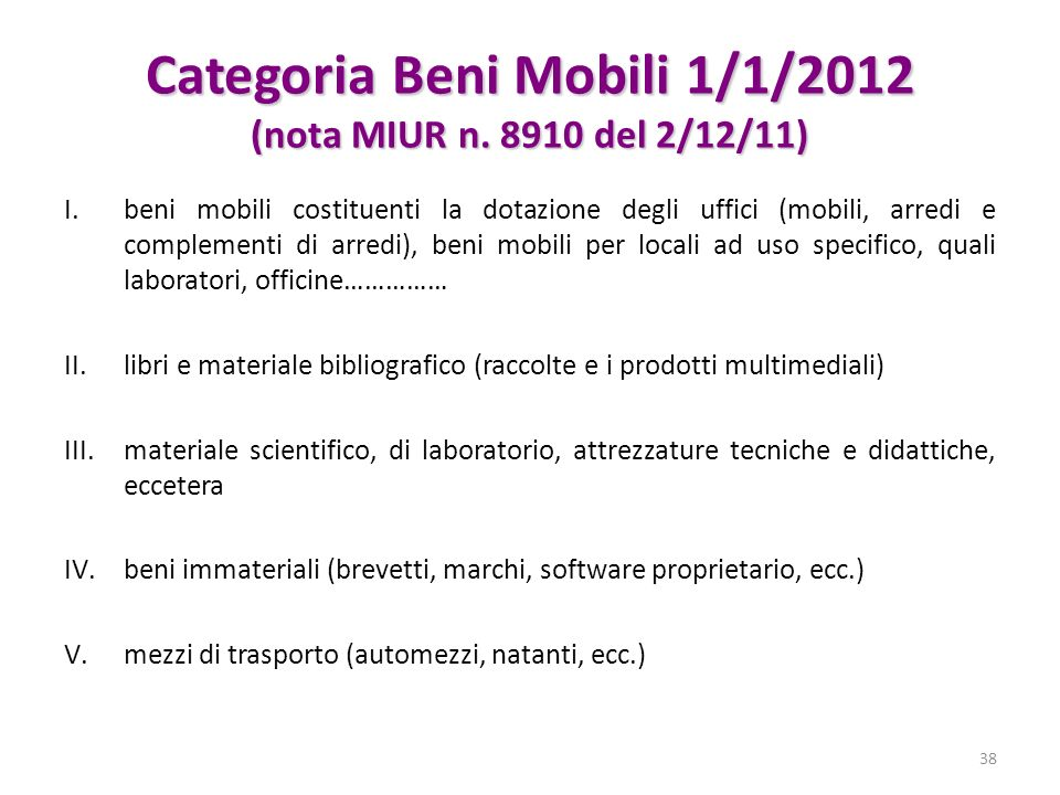 Categoria Beni Mobili 1/1/2012 (nota MIUR n. 8910 del 2/12/11)