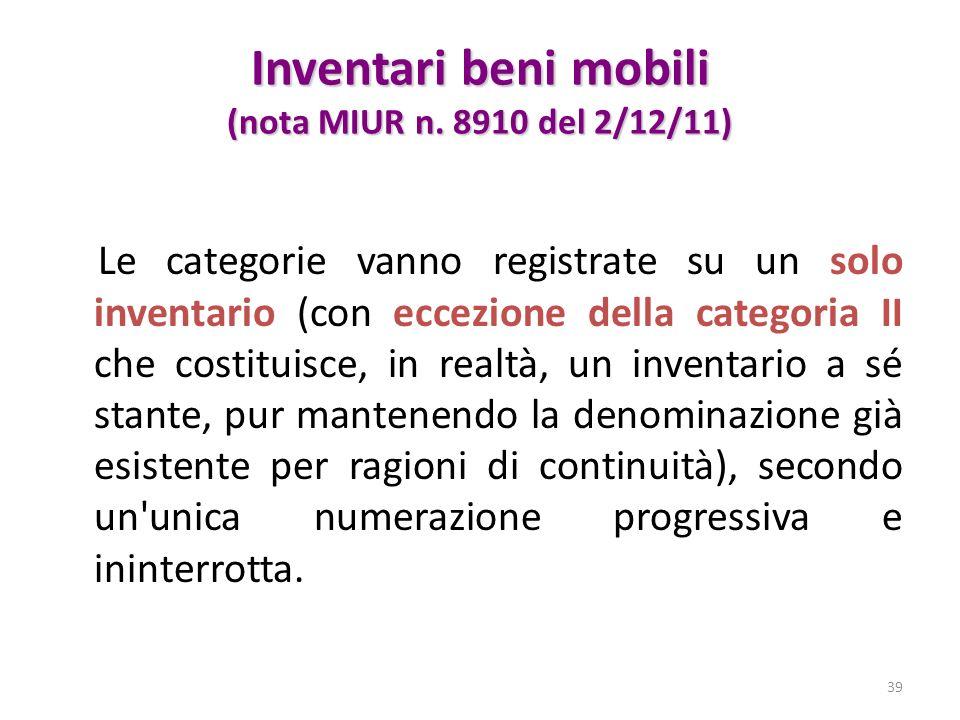 Inventari beni mobili (nota MIUR n. 8910 del 2/12/11)