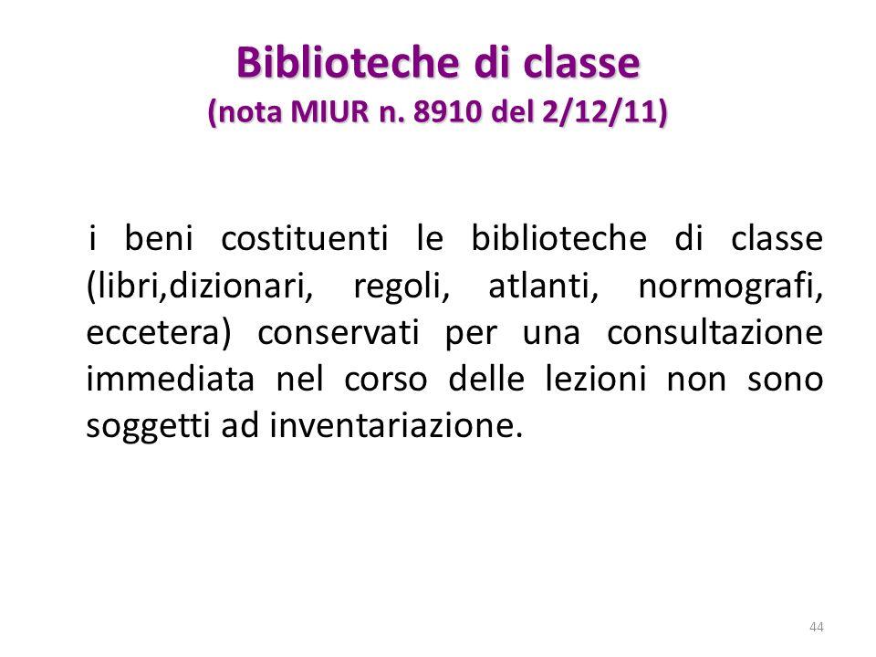 Biblioteche di classe (nota MIUR n. 8910 del 2/12/11)
