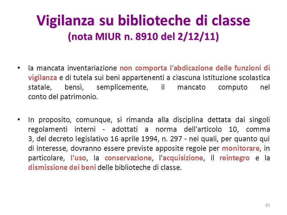 Vigilanza su biblioteche di classe (nota MIUR n. 8910 del 2/12/11)