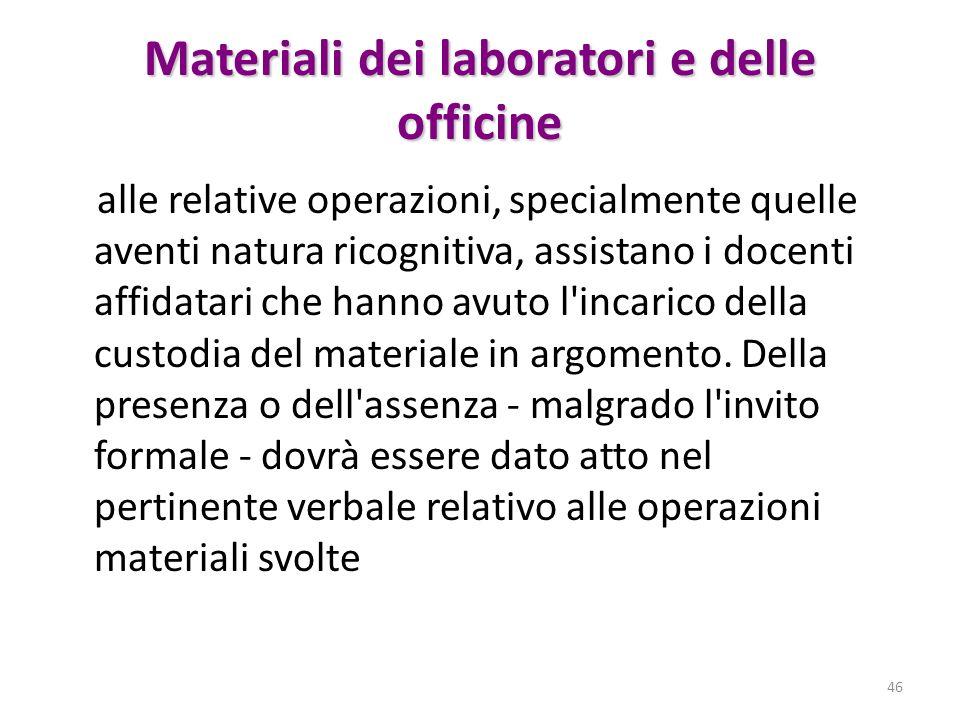 Materiali dei laboratori e delle officine