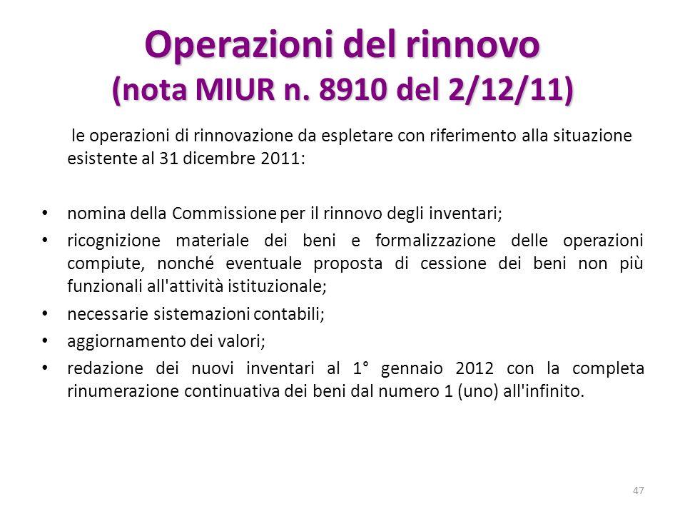 Operazioni del rinnovo (nota MIUR n. 8910 del 2/12/11)