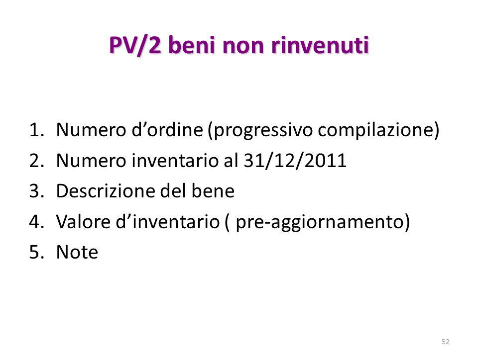 PV/2 beni non rinvenuti Numero d'ordine (progressivo compilazione)