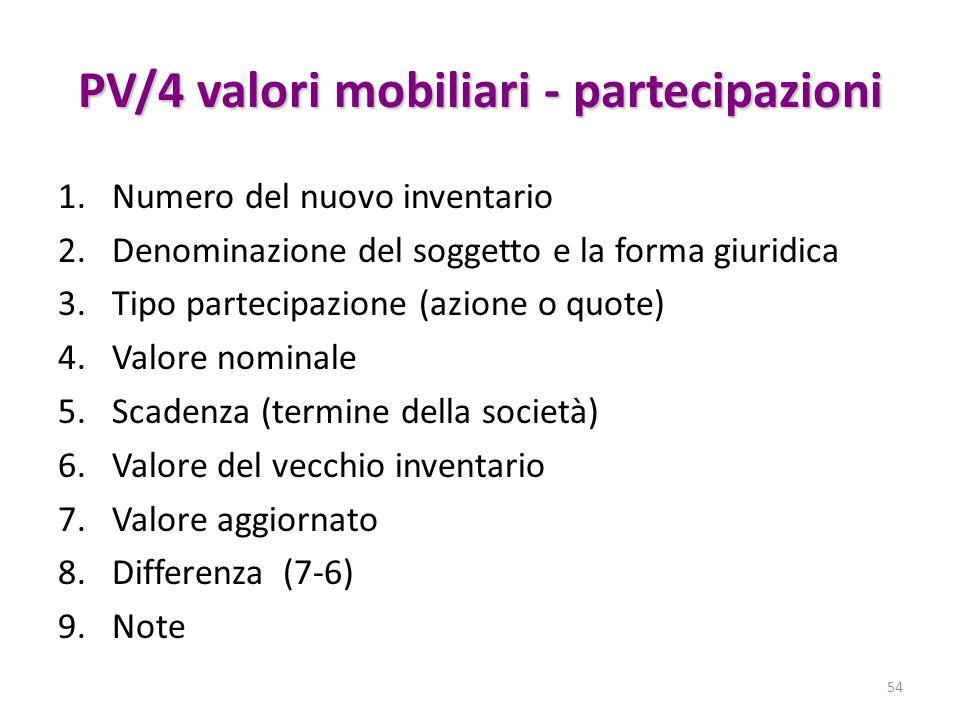 PV/4 valori mobiliari - partecipazioni