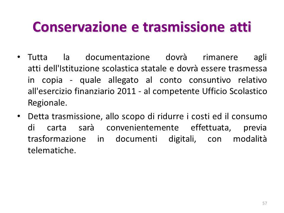 Conservazione e trasmissione atti