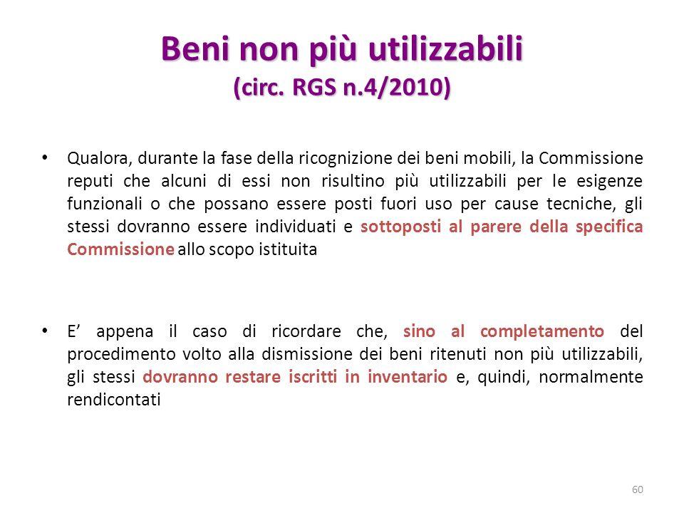 Beni non più utilizzabili (circ. RGS n.4/2010)