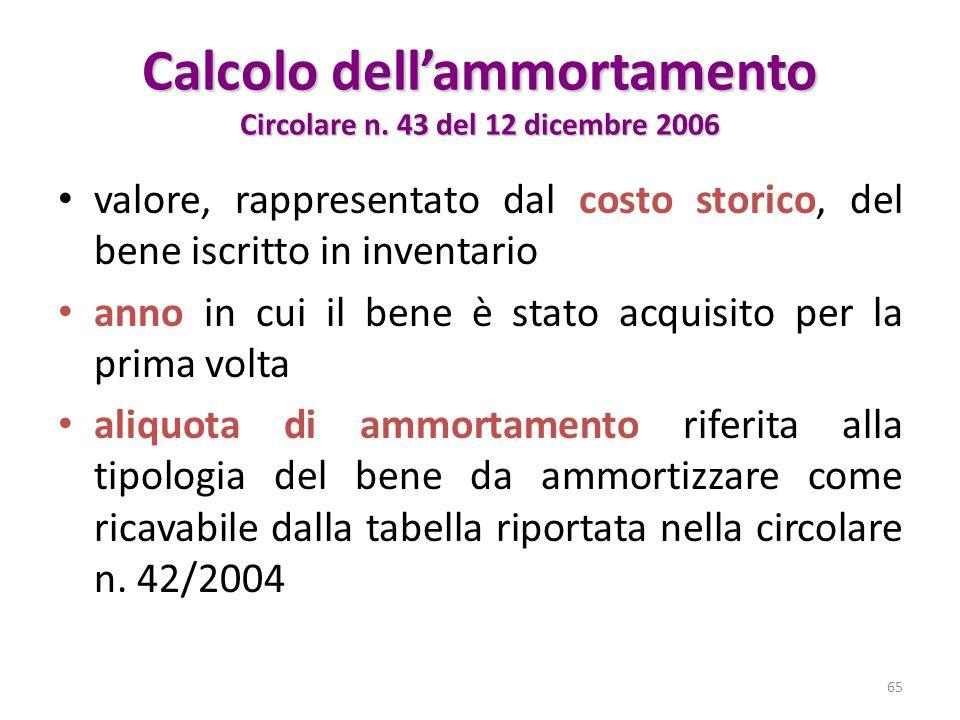 Calcolo dell'ammortamento Circolare n. 43 del 12 dicembre 2006