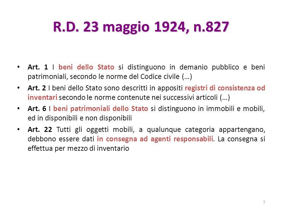 R.D. 23 maggio 1924, n.827 Art. 1 I beni dello Stato si distinguono in demanio pubblico e beni patrimoniali, secondo le norme del Codice civile (…)