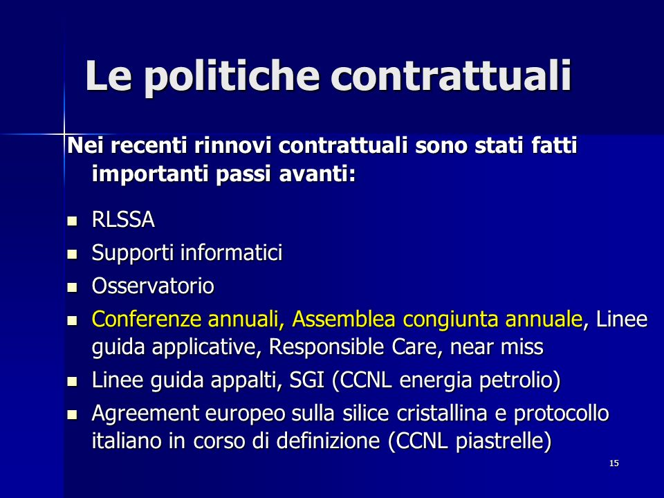 Le politiche contrattuali