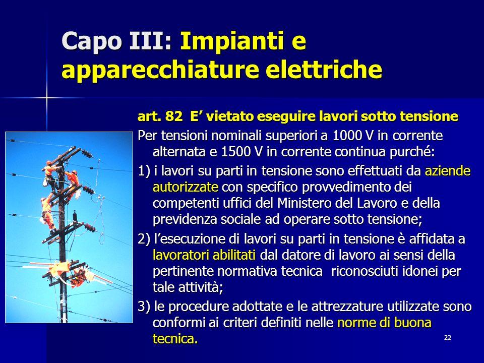Capo III: Impianti e apparecchiature elettriche