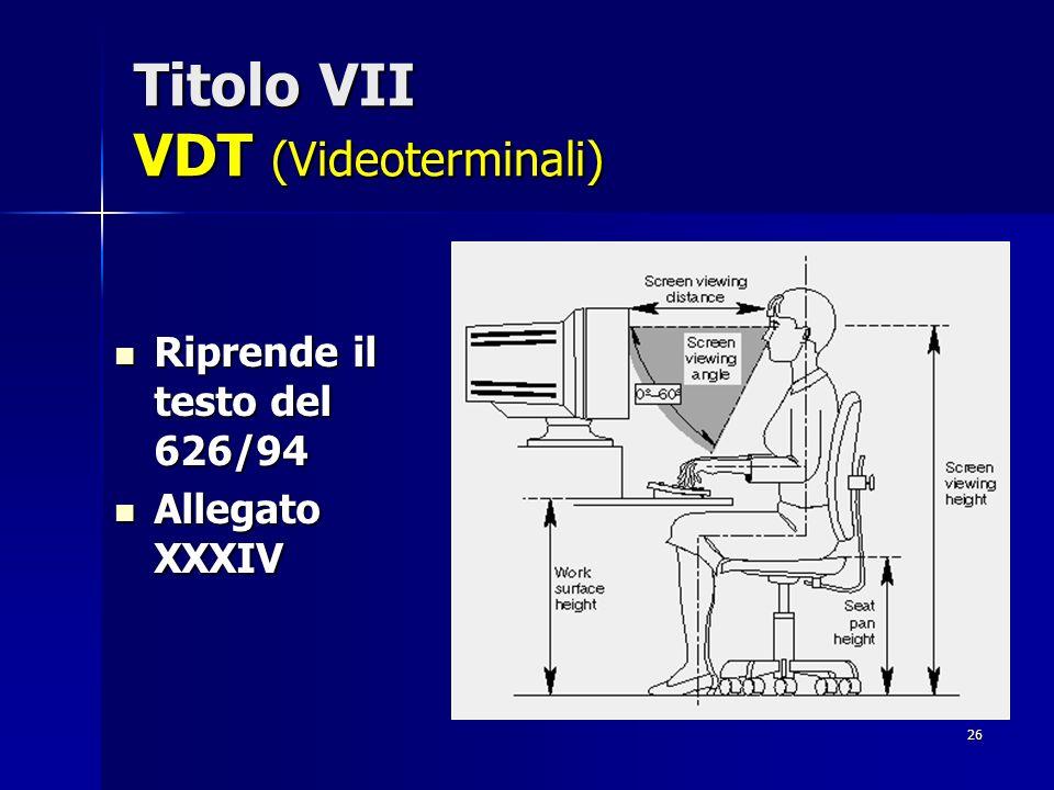 Titolo VII VDT (Videoterminali)
