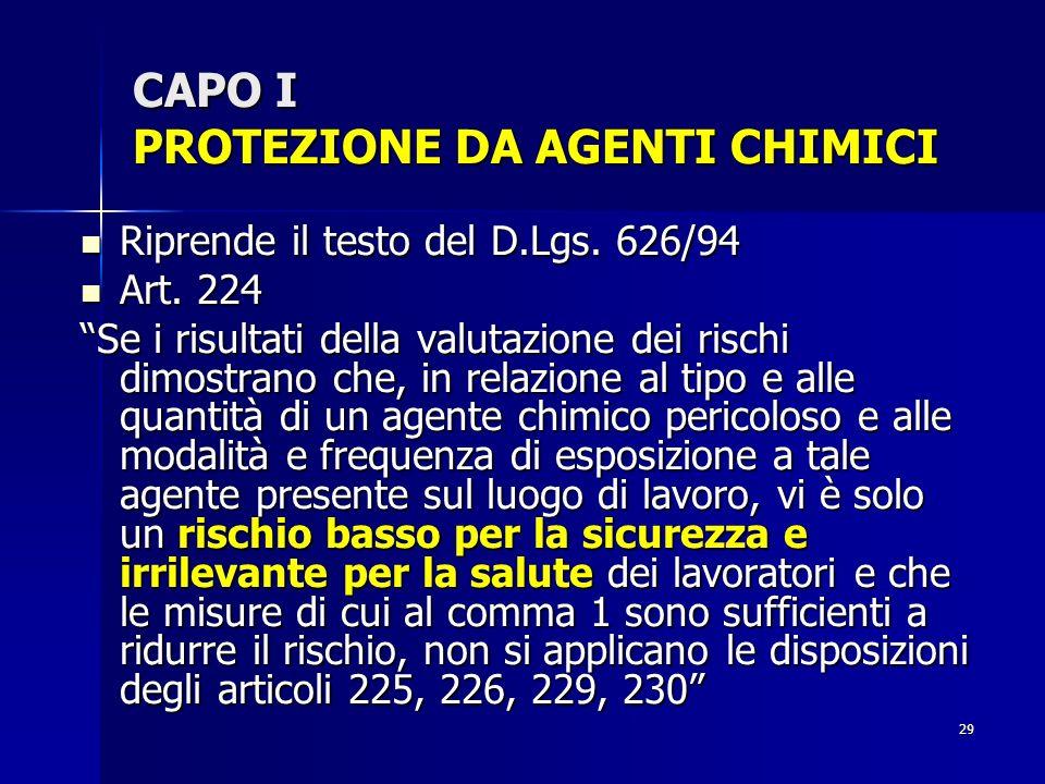 CAPO I PROTEZIONE DA AGENTI CHIMICI