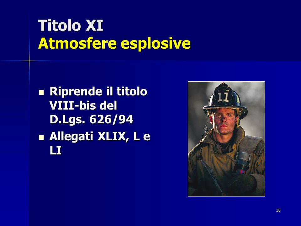 Titolo XI Atmosfere esplosive