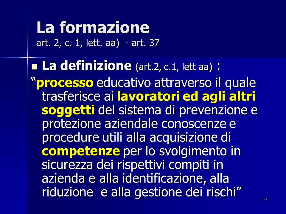 La formazione art. 2, c. 1, lett. aa) - art. 37