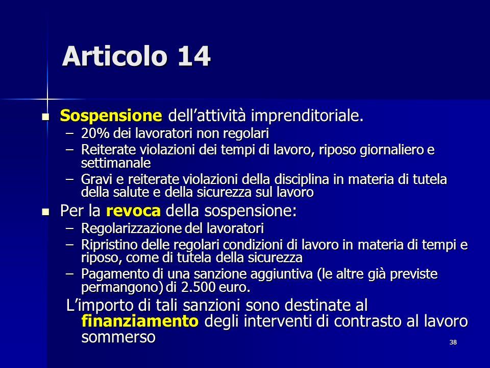 Articolo 14 Sospensione dell'attività imprenditoriale.